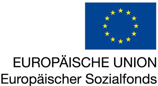 EU-Logo mit EU- und ESF-Schriftzug rechtsbündig unter der Fahne